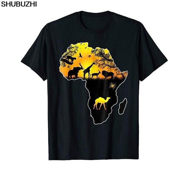 Afrika Savannah Safari Yaban Hayatı Afrika Haritası Moda Marka T Shirt Erkekler Yaz Baskı Rahat Erkekler Marka Özelleştirmek Tee Gömlek