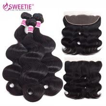 Sweettie – perruque Lace Frontal Closure brésilienne Remy, cheveux naturels, Body Wave, 13x4, oreille à oreille, en lots, avec Baby Hair