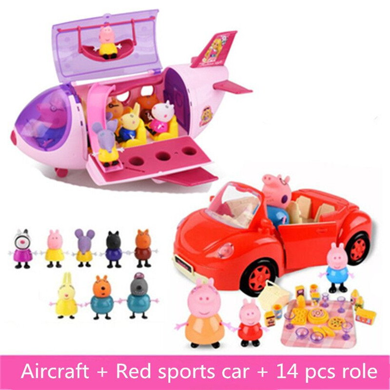 Peppa Pig Doll Toys Fashion Aircraft Sports Car Family Pack Full Roles Model Action Figure Educational For Children Gifts