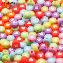 Heart-Beads Jewelry-Making Acrylic Necklace Diy Bracelet Round Colorful 7mm for Handmade