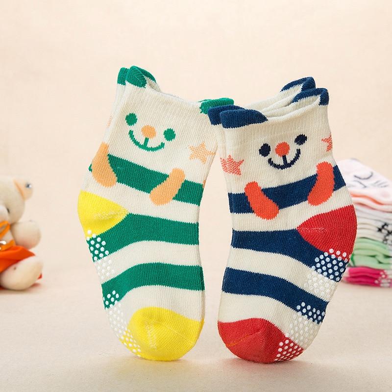 2Pairs Autumn Spring Baby Non-slip Cotton Socks Children Cartoon Girl Boys Socks Cute Animal Babys Kids Socks Wholesale
