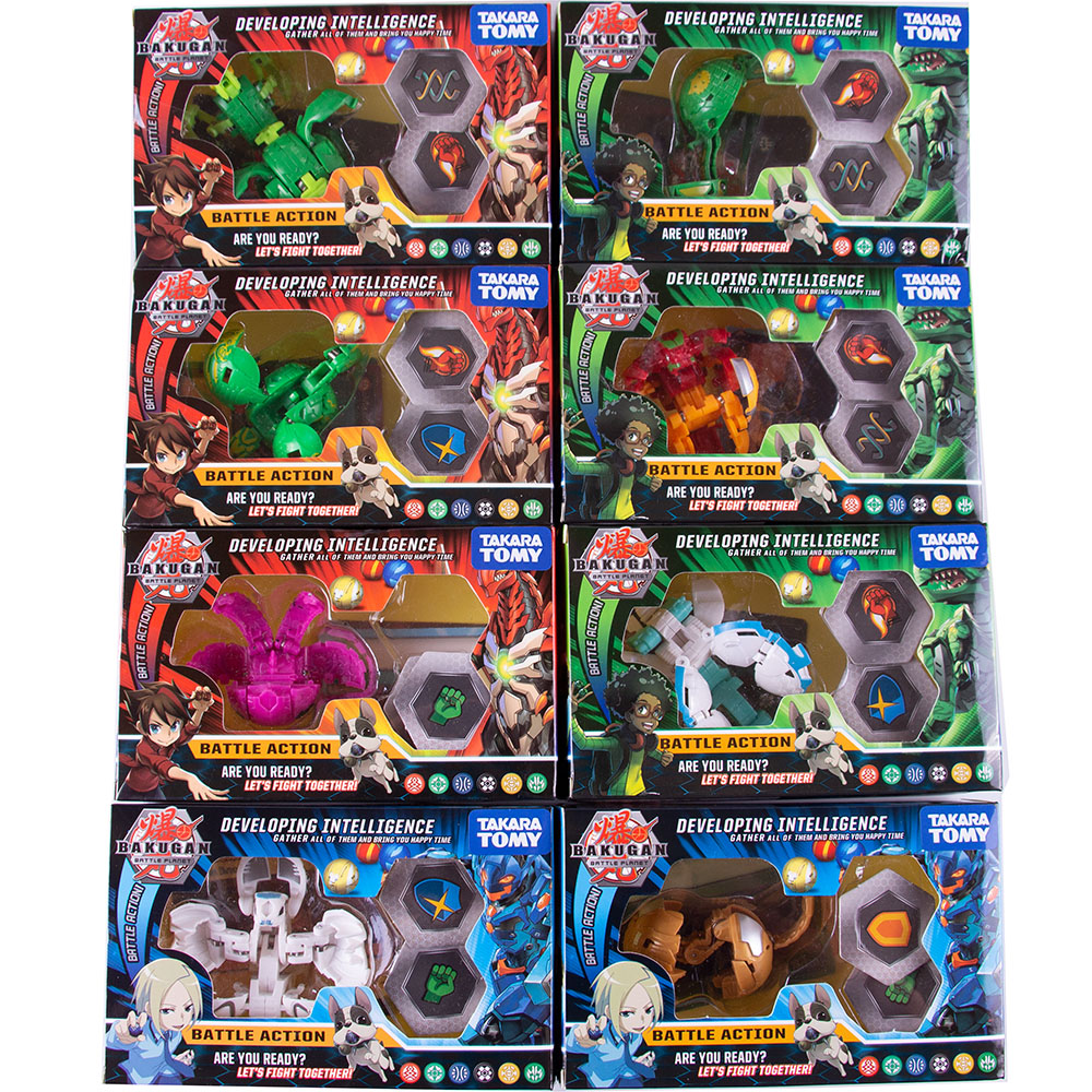 TOMY New BAKUGAN Value Set Eight-in-one Children's Toy Birthday Gift Model Contains 8 Attribute Cards And 16 Magnetic Pads