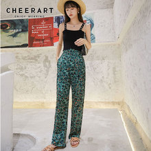 Summer Trousers Satin-Pants Flowy High-Waist Green CHEERART Slacks Korean Streetwear