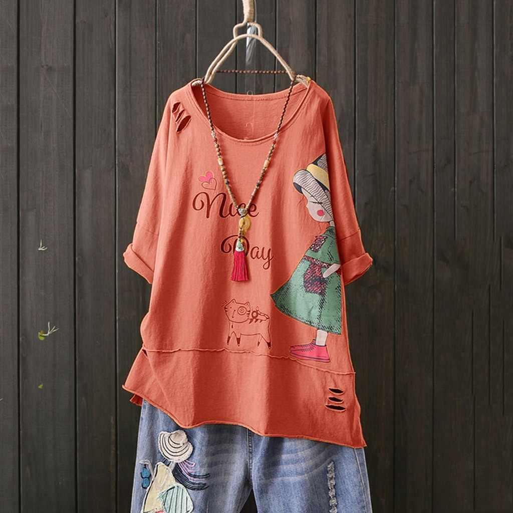 Nueva Camiseta Mujer moda cuello redondo manga corta dibujos animados estampado algodón Lino Tops Poleras Camiseta Mujer Top Mujer Harajuku Camiseta