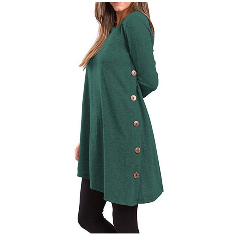 2020 Fashion Autumn New Long-Sleeved Irregular Skirt Buttons Sweater Solid Long Tops Simplee Sweatshirts Women'S Sweaters Hot