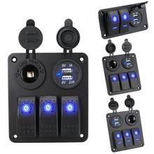2/3 Gang 12~24V Blue LEDCircuit Control Interior for Ship Car Switch Panel Digital Voltmeter Dual USB Port Outlet Combination