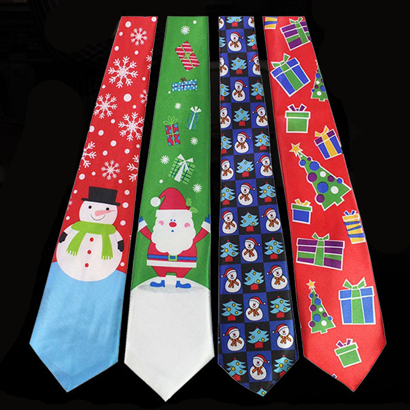2019 new 9.5cm Christmas Tie Red Green Santa Claus Snowman Tree Print Necktie For Men Christmas Party Neck Ties Accessories