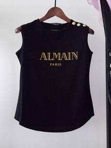 Ladies Top Short-Sleeved Gold-Buckle T-Shirt fashion Classic Summer 100%Cotton Hot-Stamping