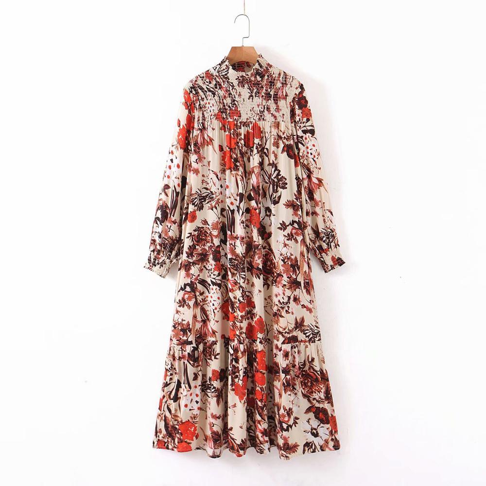 2020 Women elastic shrink fold turtleneck collar flower print casual loose long Dress lady vestidos chic straight Dresses DS3308