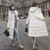 Femme Hiver Äußere Tragen Dünne Mantel Frauen Winter Dicke Daunen Jacke Langen Mantel Weibliche Zipper Mit Kapuze Brot Parka Manteau