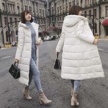 Femme Hiver חיצוני ללבוש Slim מעיל נשים חורף עבה למטה מעיל ארוך מעיל נשי רוכסן ברדס לחם דובון Manteau