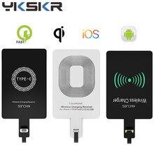 Micro usb tipo c universal rápido adaptador de carregador sem fio para samsung huawei para iphone para android qi receptor carregamento sem fio