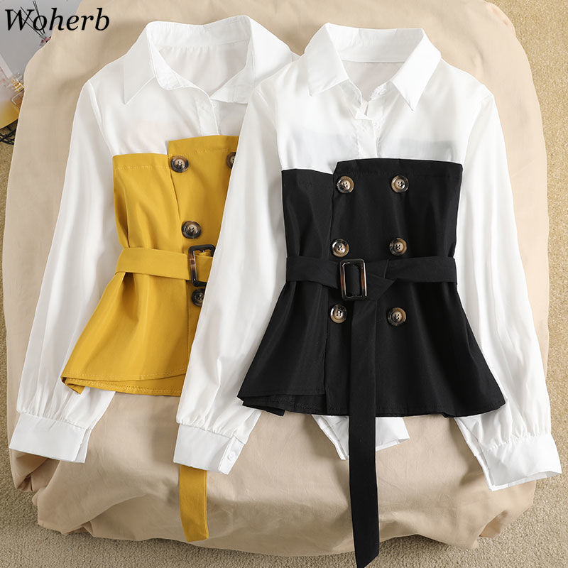 Woherb Fake Two Pieces Long Sleeve Patchwork Blouse Button Design Belt Elegant Shirts Female Asymmetric Fashion Tops Women 91700