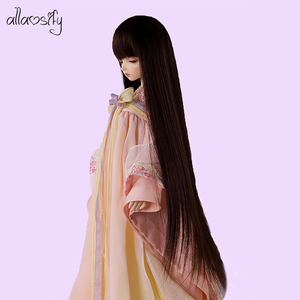 Image 1 - Allaosify Bjd Wig 1 PCs Long Straight Hair 1/3 1/4 1/6 1/8 Bjd Doll Wig Black Bangs Free Shipping