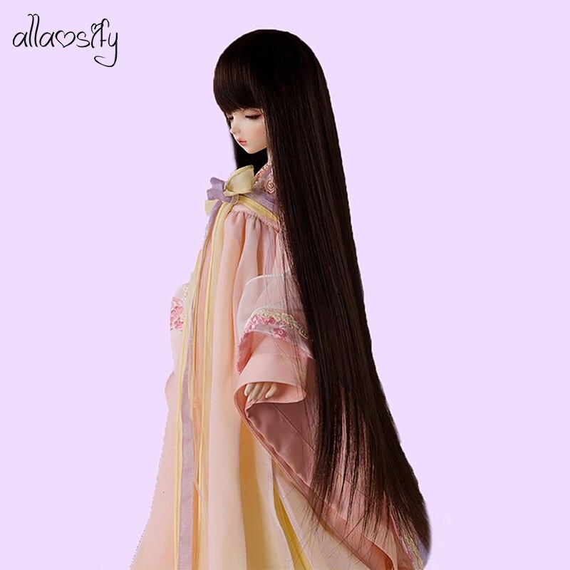 Allaosify Bjd Wig 1 PCs Long Straight Hair 1/3 1/4 1/6 1/8 Bjd Doll Wig Black Bangs Free Shipping