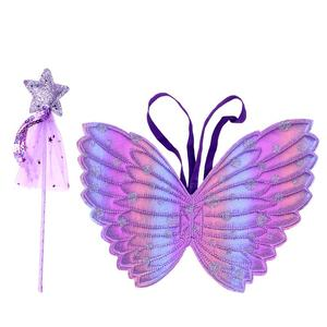 2pcs Angel Wing and Fairy Stick Beautiful Stage Performance Magic Wand Props Accessory Angel Costume Decoration for Kids Stage