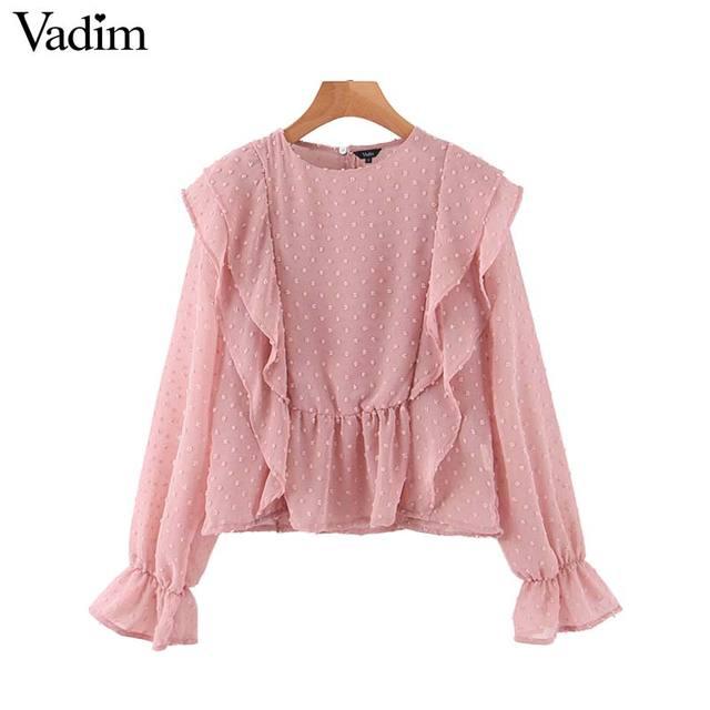 Vadim, милый, Женский шикарный оборками розовый orange блузка с круглым вырезом Длинные рукава офисная одежда рубашка Женский Стильный Топы blusas LB610