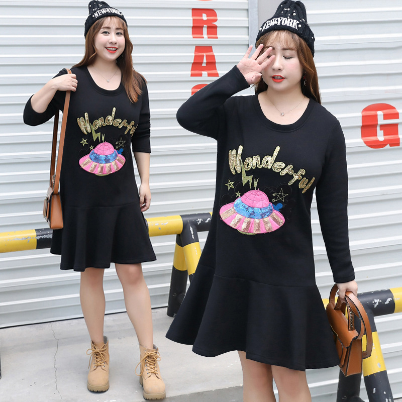 Large GIRL'S Brushed And Thick Extra Large WOMEN'S Dress Winter Cover Belly Slimming Base Dress A Generation Of Fat 1498