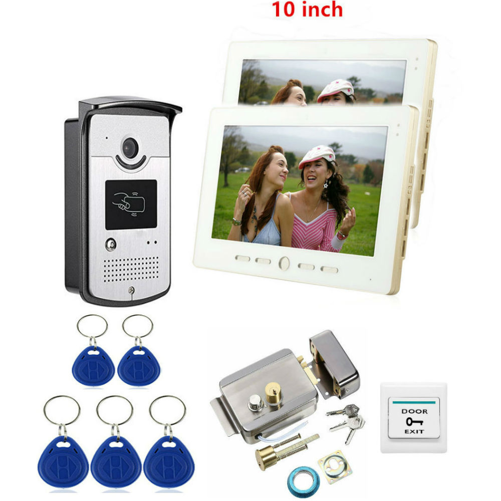 Key Doorphone Intercom Electronic RFID Card Aceess Video Intercom With Lock 7 Inch TFT 2 Monitors For Private Homes