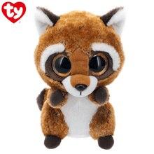15 см Ty плюшевый Кукла ржаво-коричневый енота мягкие игрушки большой шапочка глаз Единорог