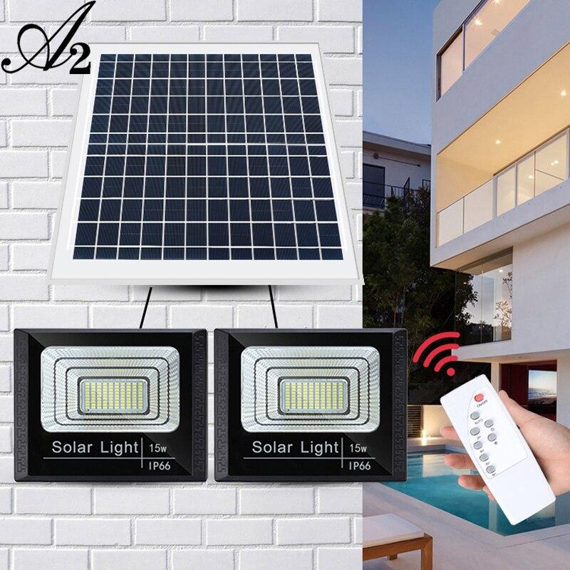 A2 Solar Light Double Head Biger LED Lamp 40wSuper Bright 24000mA Battery Outdoor Garden Waterproof Large Solar Panel Light