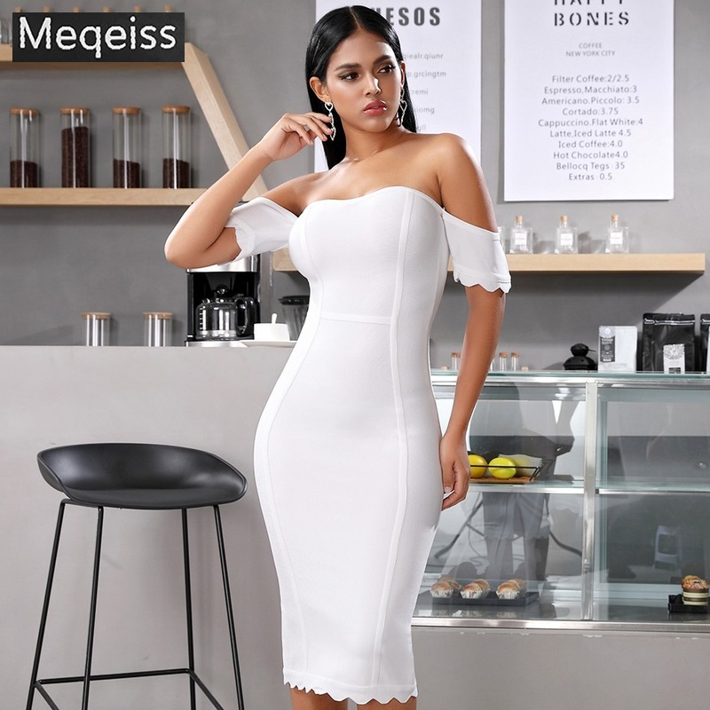 Meqeiss2019 New Summer Sexy Short Sleeve White Club Celebrity Evening Party Dress Vestidos Nude Off Shoulder Women Bandage Dress