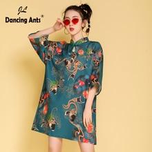 Straight Dresses Cheongsam Mandarin-Collar Floral-Printed Elegant Chinese Vintage Casual