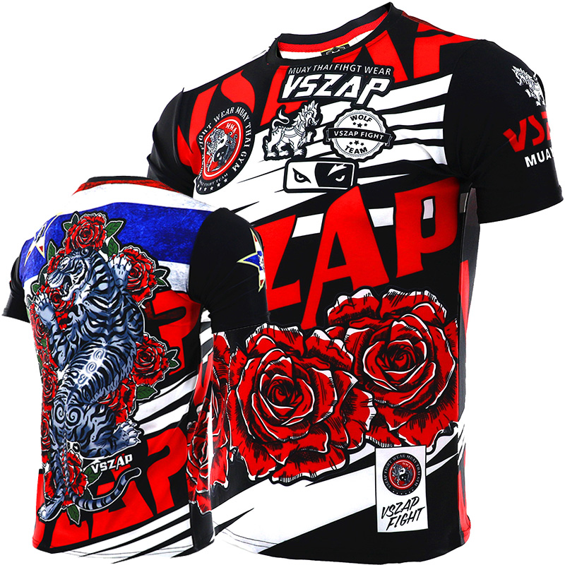 VSZAP Tiger Fighting Thai Boxing Sports Men's T-shirt Mma Thai Boxing Muscles Running Fitness Speed Dry Spring