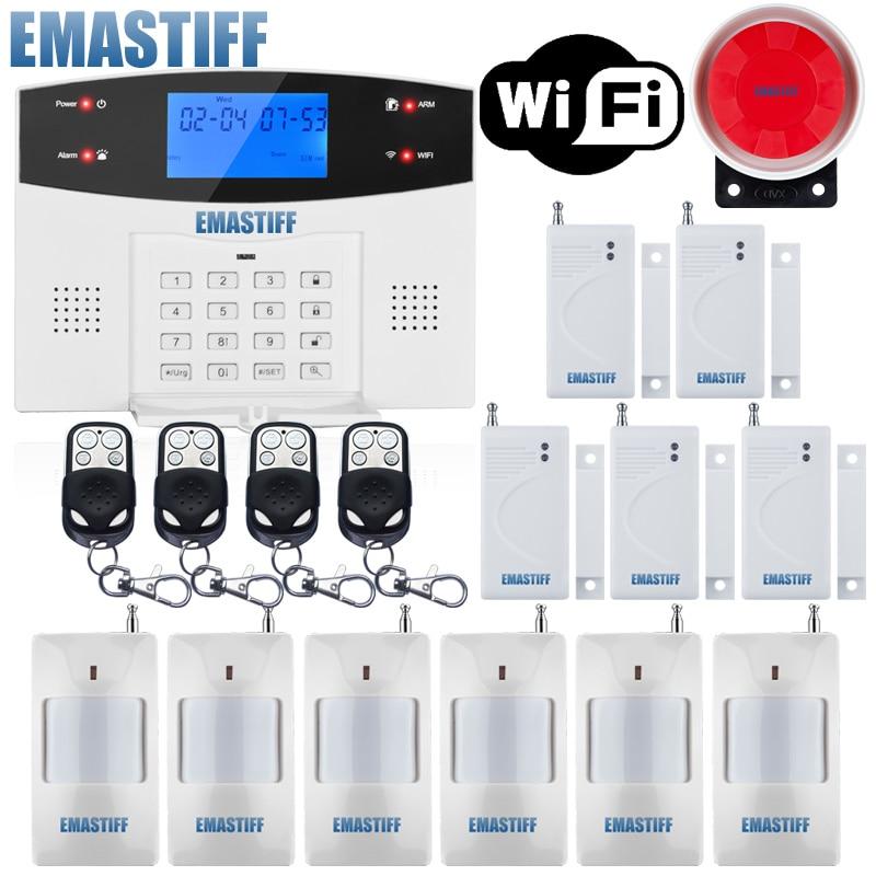 IOS Android APP filaire sans fil sécurité à la maison LCD PSTN WIFI GSM système d'alarme interphone télécommande auto-cadran sirène capteur Kit