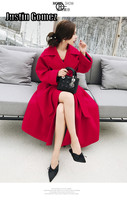 Double sided Woolen Coat Elegant Ladies High end Fashion Overcoats Warm Red Coat Belt Wide Leg Design High Quality Outerwear