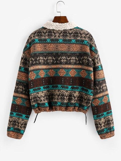 ZAFUL Tribal Plaid Faux Fur chaqueta de Mujeres de cintura alta de sudaderas con capucha de otoño primavera Vintage chaquetas de abrigo