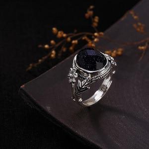 Image 3 - V. יה נשים טבעי אבן פתוח טבעת 925 סטרלינג תכשיטי כסף חצי יקר אבן & Marcasite אבן טבעות נקבה גבירותיי מתנות