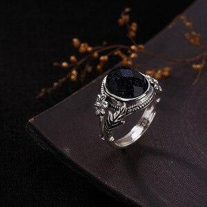 Image 3 - V.YA النساء الحجر الطبيعي حلقة مفتوحة 925 فضة مجوهرات شبه حجر كريم و Marcasite حجر خواتم الإناث السيدات الهدايا