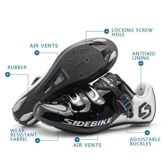 Sidebike calçado de ciclismo de estrada masculino, sapato de bicicleta de corrida automática com fecho para atletismo e ultraleve, preto 6