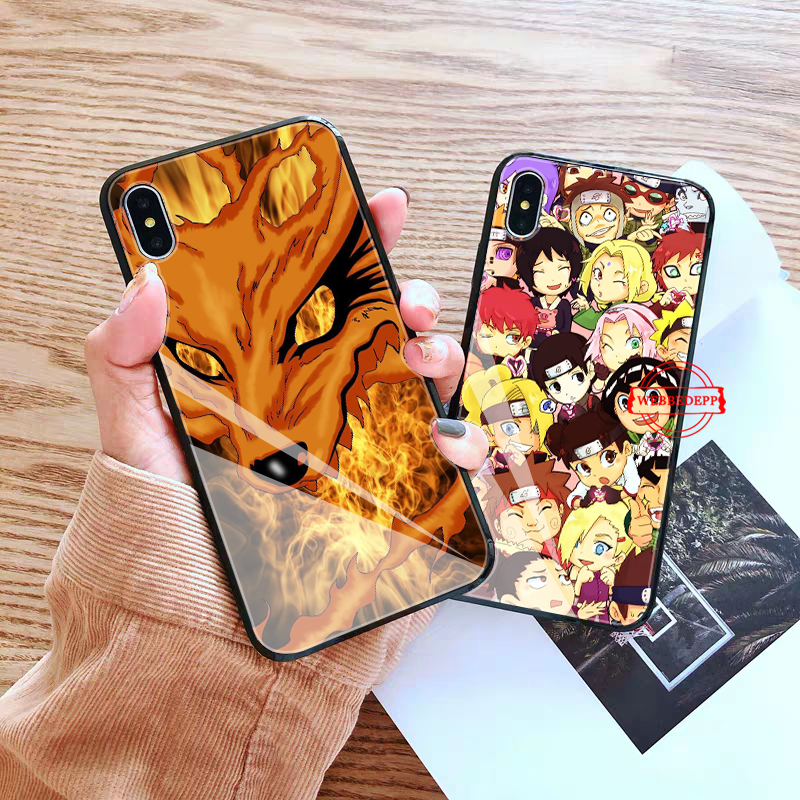 WEBBEDEPP Naruto Glass Phone Case for Apple iPhone XR X XS Max 6 6S 7 8 Plus 5 5S SE in Fitted Cases from Cellphones Telecommunications