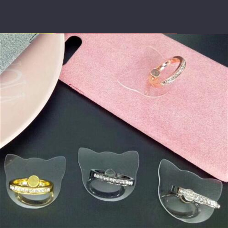 Transparent Cat Finger Ring Smartphone Phone Stand Holder Mobile Phone Diamond Holder Stand Socket For I All SmartPhone