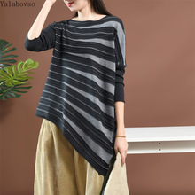 Stripe Knitted  in Autumn women tshirt irregular O neck knitted T shirts for Casual Shirts CXCZ40