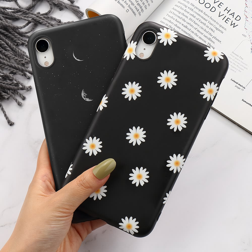 Floral Soft TPU Silicone Case for IPhone SE2 11 12 Pro Max X XR XS 8 7 6 6S Plus Phone Back Shockproof Flower Moon Cover Coque