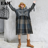 [EAM] Women Plaid Spliced Pleated Big Size Denim Dress New Hooded Long Sleeve Loose Fit Fashion Tide Spring Autumn 2019 1A743