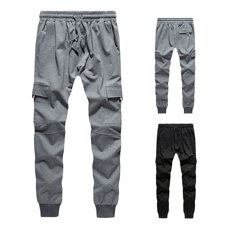 2019 New Men Sweatpants Solid Fitness Jogger Trousers Spring Summer Male Sportswear Casual Pants Side Pockets Gyms Clothing Mens