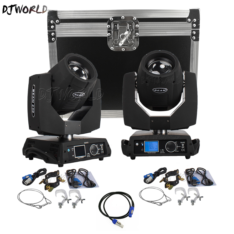 2PCS DJ Lyre 7r 230w Beam Moving Head Light Or Flight Case 2in1 Professional DJ DMX Stage Lighting Power In/Out Beam Wash Effect