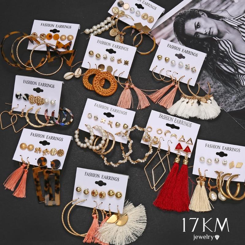 17KM Bohemian Tassel Earrings For Women Vintage Shell Pearl Drop Earrings Set Rattan Dangle Earring 2020 Brincos Acrylic Jewelry