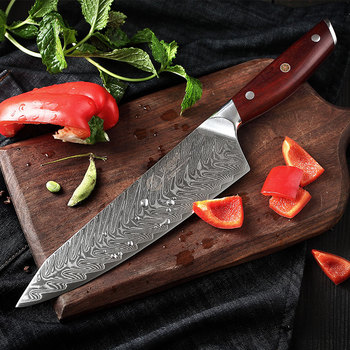 """YARENH 8"""" Professional Kitchen Knives - High Quality Cooking Tools -  Rosewood Handle - 67 Layers Japanese Damascus Chef Knife"""