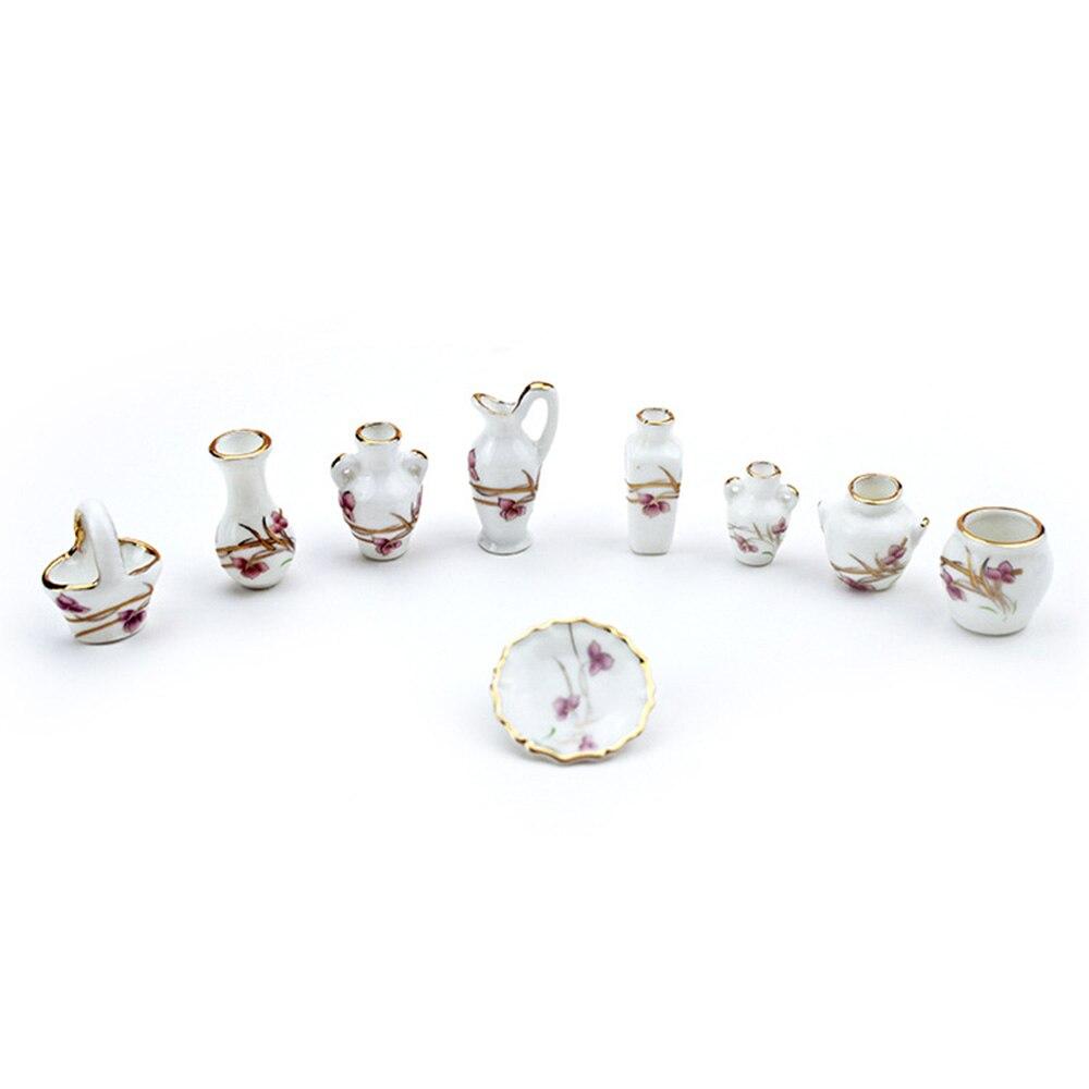 9Pcs 1/12 Dollhouse Miniature Accessories Mini Ceramics Vase Set Simulation Wobble Plate Kettle Flowerpot  Flower Basket Model T