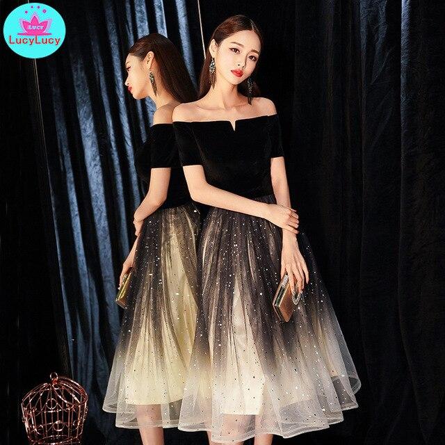 2019 novo banquete elegante preto sexy seção longa palavra ombro magro emagrecimento vestido de festa fora do ombro retalhos