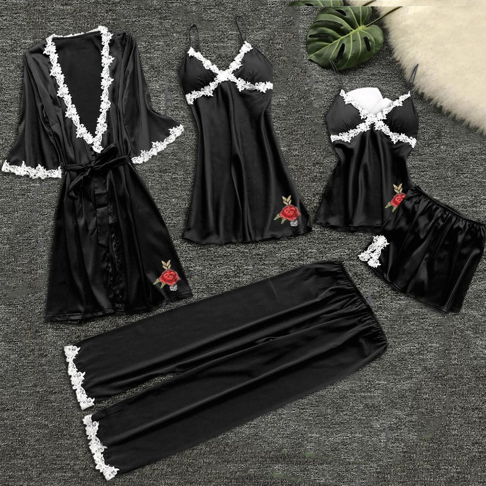 Flower Printing Women Pajama Sets Pajamas Nightgown Silk Sleepwear Women's Underwear Robes Babydolls Set 5pcs Pajamas Lingerie