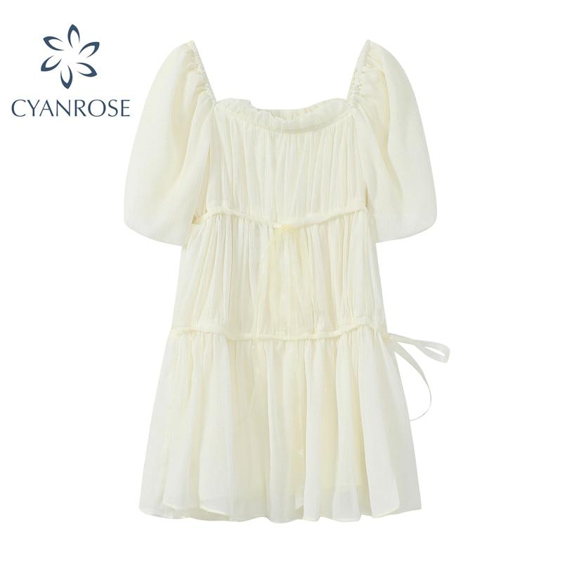 Женское мини-платье с квадратным вырезом, летнее Сетчатое платье трапециевидной формы с короткими рукавами-фонариками, милый стиль, 2021
