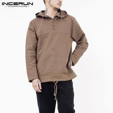 Свитшот incerun мужской с капюшоном винтажный хлопковый однотонный