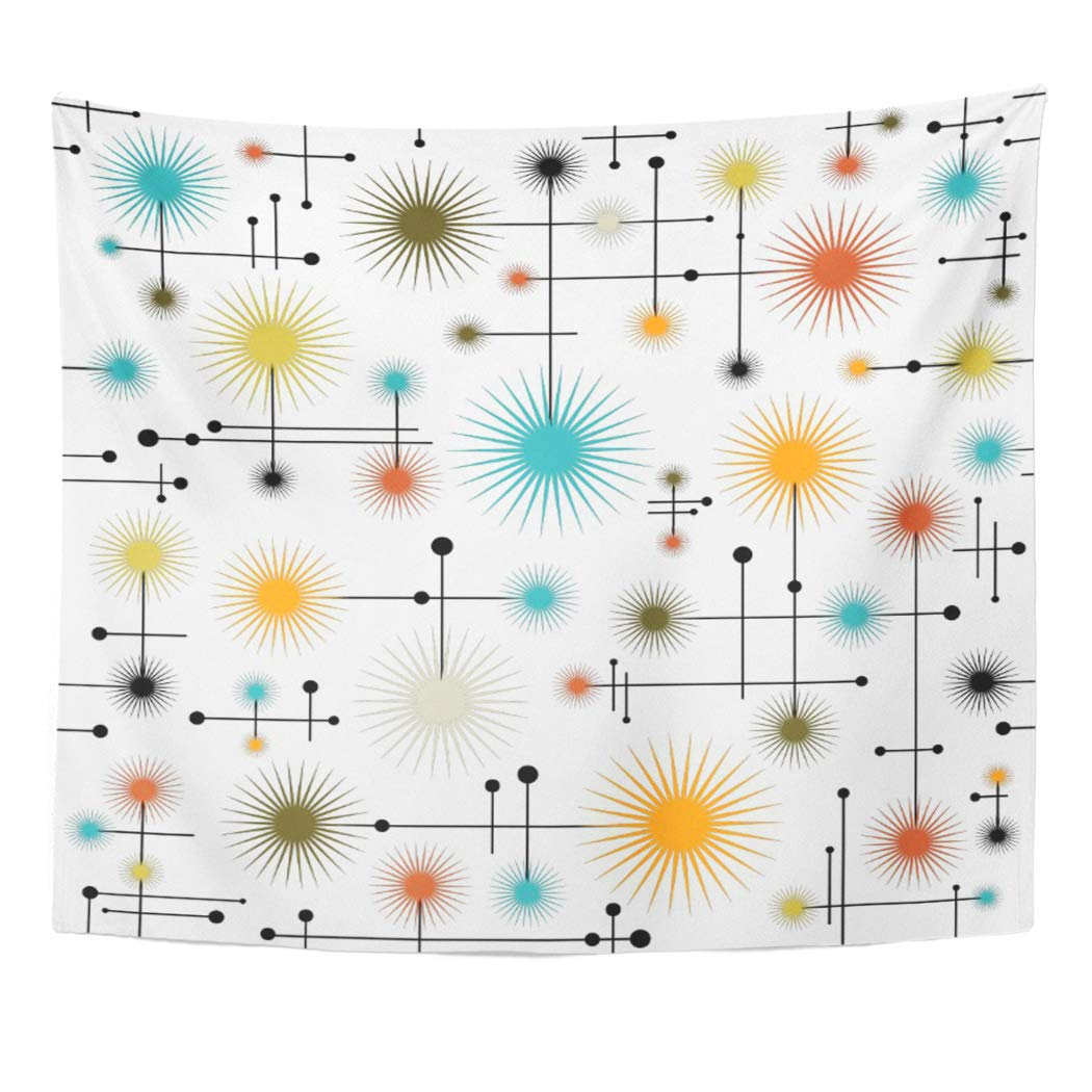Star Retro Starbursts Go Mid Century Modern Lines Home Decor Tapestries Tablecloth