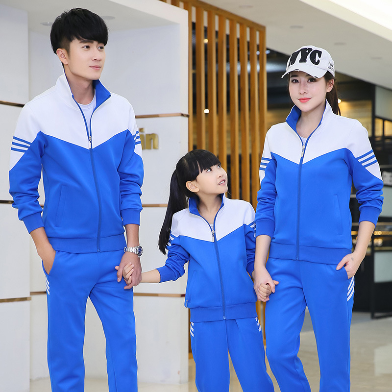 Spring And Autumn Couples Sports Clothing Parent And Child Set Long Sleeve Mixed Colors Men And Women Primary School STUDENT'S S